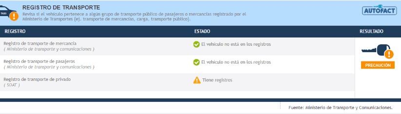 Sección: Registro de transporte.