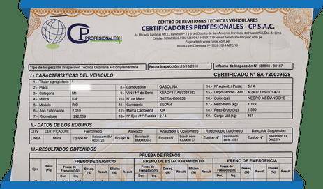 Calcomanía para auto inspección vehicular