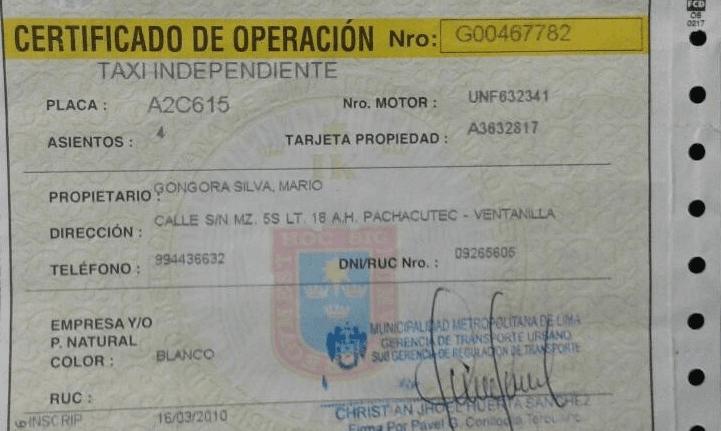 Certificado de operación de Lima
