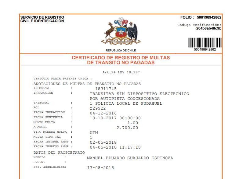 Certificado de Multas del Registro Civil