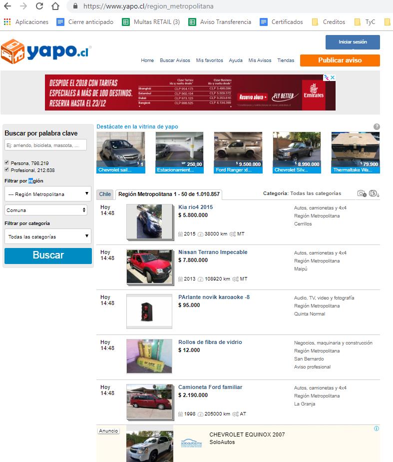 Yapo es una página reconocida por tener cientos de avisos diarios y una alta rotación en la oferta